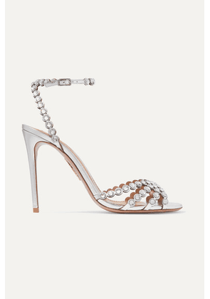 Aquazzura - Tequila 105 Crystal-embellished Metallic Leather Sandals - Silver