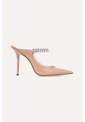 Jimmy Choo - Bing 100 Crystal-embellished Patent-leather Mules - Antique rose