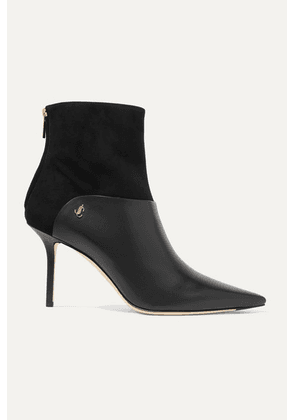 Jimmy Choo - Beyla 85 Suede And Leather Ankle Boots - Black