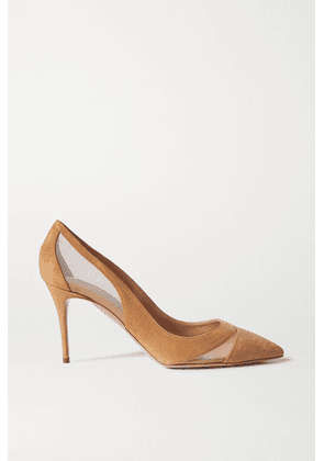Aquazzura - Savoy 85 Suede And Mesh Pumps - Brown