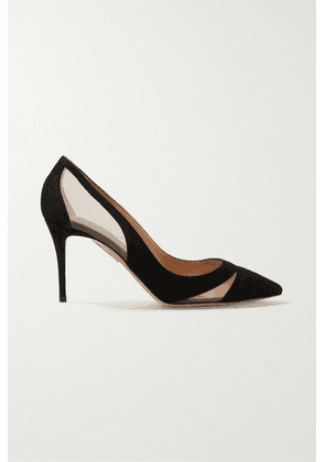 Aquazzura - Savoy 85 Mesh-trimmed Suede Pumps - Black
