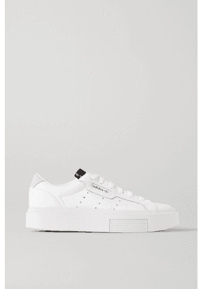 adidas Originals - Sleek Super Suede-trimmed Leather Sneakers - White