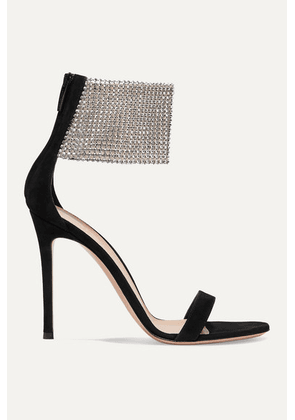 Gianvito Rossi - 105 Suede And Crystal-embellished Tulle Sandals - Black