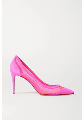 Christian Louboutin - Galativi 85 Neon Suede And Mesh Pumps - Pink