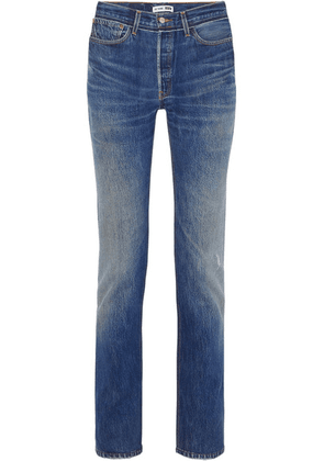 RE/DONE - + Levi's Distressed High-rise Straight-leg Jeans - Mid denim