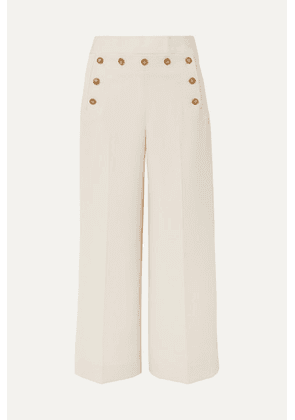 Tory Burch - Button-embellished Cropped Crepe Wide-leg Pants - Ivory