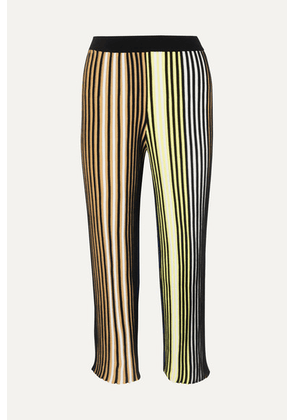 KENZO - Cropped Striped Ribbed-knit Flared Pants - Black