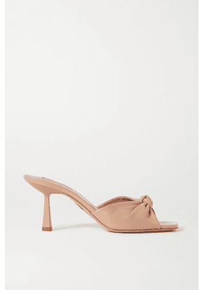 Aquazzura - Pasha 75 Knotted Leather Mules - Neutral