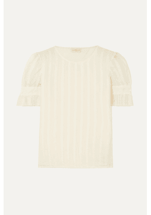 Tory Burch - Broderie Anglaise Cotton And Silk-blend Georgette And Stretch-cotton Jersey Top - Ivory