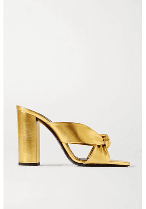 SAINT LAURENT - Loulou Knotted Metallic Leather Sandals - Gold