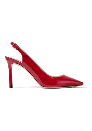 Jimmy Choo - Erin 85 Patent-leather Slingback Pumps - Red