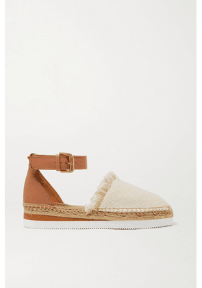See By Chloé - Leather And Canvas Platform Espadrilles - Neutral