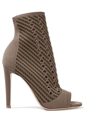 Gianvito Rossi - 105 Perforated Stretch-knit Ankle Boots - Mushroom