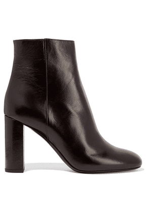 SAINT LAURENT - Loulou Glossed-leather Ankle Boots - Merlot