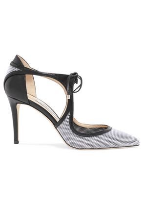 Jimmy Choo - Vanessa 85 Cutout Leather And Mesh Pumps - White