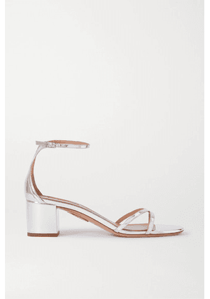 Aquazzura - Purist 50 Mirrored-leather Sandals - Silver