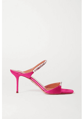 Aquazzura - Diamante 75 Crystal-embellished Satin Mules - Fuchsia