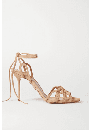 Aquazzura - Azur 95 Suede Sandals - Neutral