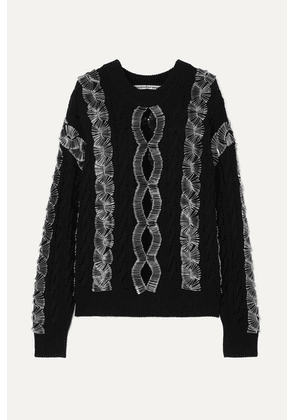 Alexander Wang - Embellished Cutout Cable-knit Sweater - Black
