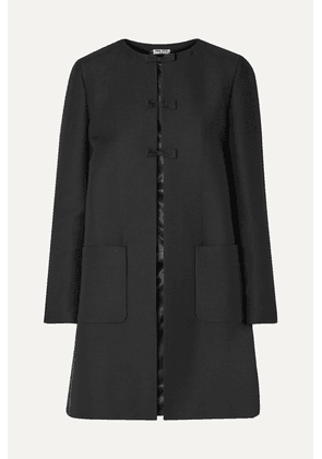 Miu Miu - Bow-embellished Wool And Silk-blend Coat - Black