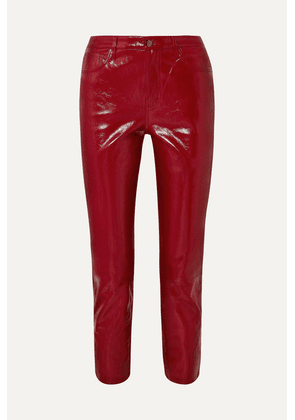 J Brand - Ruby Cropped High-rise Slim-leg Patent-leather Jeans - Red
