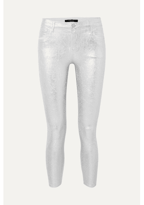 J Brand - 835 Metallic Coated Cropped Mid-rise Skinny Jeans - Silver