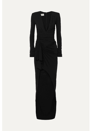 Alexandre Vauthier - Tie-front Ruched Stretch-crepe Gown - Black