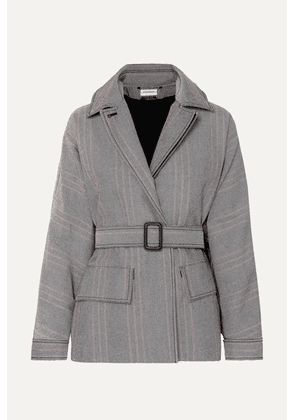 By Malene Birger - Rawil Belted Checked Cotton-blend Twill Jacket - Gray