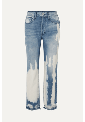 3x1 - W3 Higher Ground Bleached Distressed High-rise Straight-leg Jeans - Mid denim