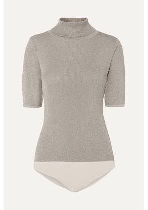 3.1 Phillip Lim - Ribbed Lurex Turtleneck Bodysuit - Metallic