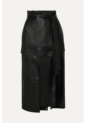 3.1 Phillip Lim - Belted Leather Midi Skirt - Black