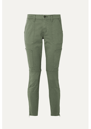 J Brand - Cropped Stretch Cotton-blend Twill Skinny Pants - Army green