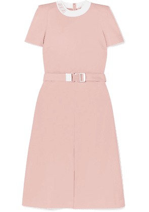 Fendi - Intarsia-trimmed Belted Grain De Poudre Midi Dress - Pink