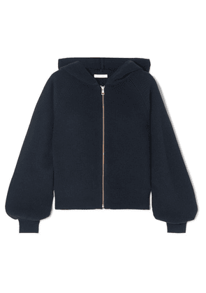 See By Chloé - Crochet Knit-paneled Ribbed Wool And Cotton-blend Hoodie - Blue