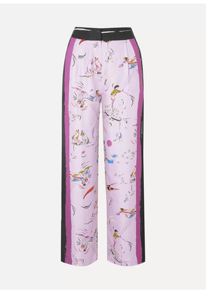 Tory Burch - Painted Border Printed Silk-twill Pants - Lilac