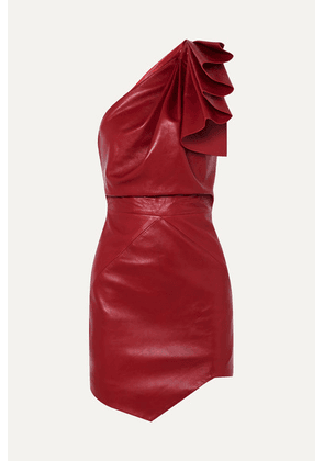 Alexandre Vauthier - One-shoulder Leather Mini Dress - Red
