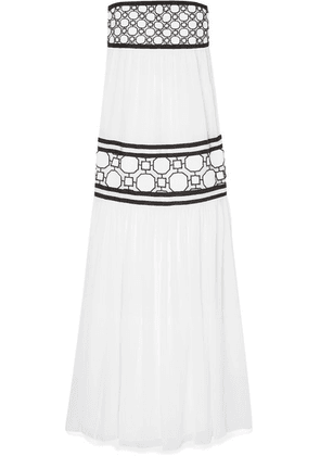 Tory Burch - Christie Grosgrain And Guipure Lace-trimmed Silk-georgette Maxi Dress - White