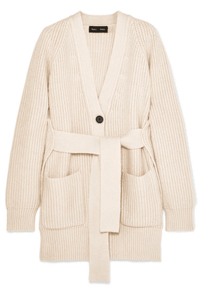 Proenza Schouler - Belted Ribbed Cotton-blend Cardigan - Off-white