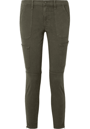 J Brand - Cropped Cotton-blend Twill Skinny Pants - Army green