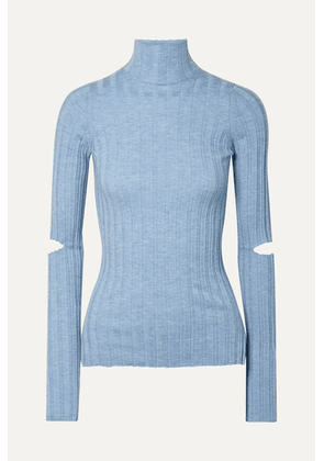 Helmut Lang - Cutout Ribbed Wool Turtleneck Sweater - Light blue