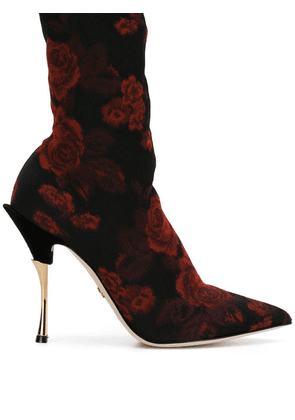 Dolce & Gabbana rose patterned sock boots - Black