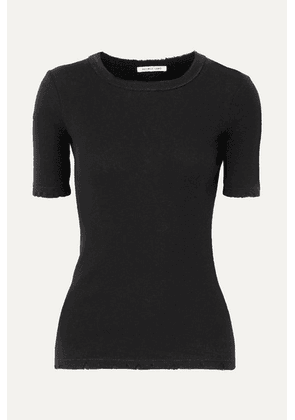 Helmut Lang - Distressed Ribbed Cotton T-shirt - Black