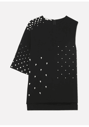 Stella McCartney - Asymmetric Faux Pearl-embellished Cady Top - Black