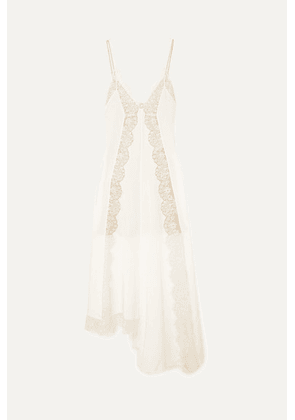 Stella McCartney - Asymmetric Lace-trimmed Silk Crepe De Chine Dress - Ivory