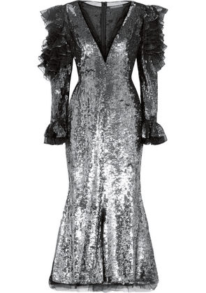 Alexander McQueen - Ruffled Sequined Tulle Midi Dress - Silver