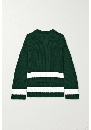 Alexander McQueen - Striped Ribbed Wool And Cashmere-blend Sweater - Green