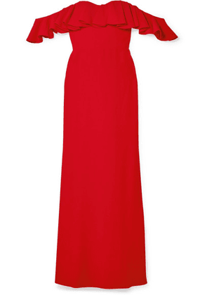 Alexander McQueen - Ruffled Off-the-shoulder Crepe Gown - Red