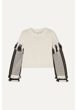 3.1 Phillip Lim - Cropped Fringed Cotton-blend Sweater - Ecru