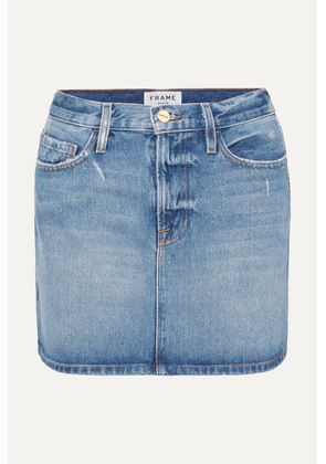 FRAME - Le Mini Distressed Denim Skirt - Mid denim