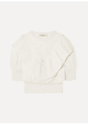 Philosophy di Lorenzo Serafini - Ruffled Embroidered Tulle-paneled Knitted Top - White